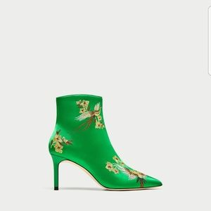 ZARA Embroidered Satin High Heel Ankle Boots 6